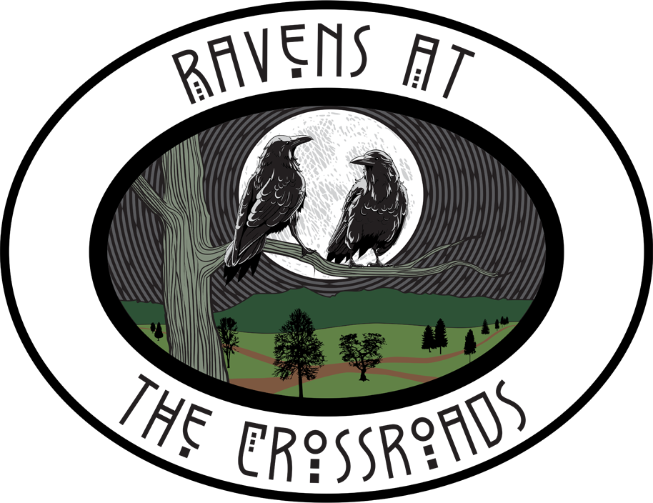 Two Ravens overlooking crossroads in the forest.